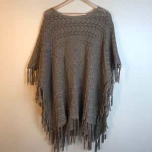 Easel Brown Knitted Poncho with fringe M / L